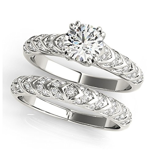 14K White Gold Unique Wedding Diamond Bridal Set Style MT51052