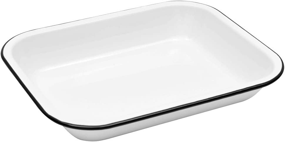 Enamelware Small Open Roaster, 10.5 x 8 inches, Vintage White/Black (Single)