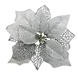 Osiga (Pack of 12) Glitter Poinsettia Christmas Tree Ornaments,Christmas Decorations Flower (Silver)