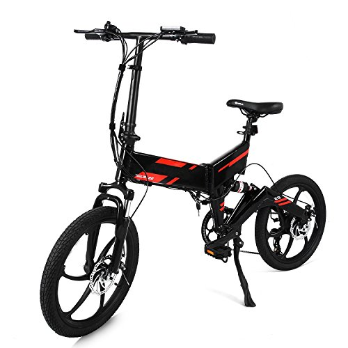 Leoneva 20 inch Foldable Electric Bicycle 250W 7 Speed Mountain Bike Full Suspension Folding E-Bike Shimano Gear