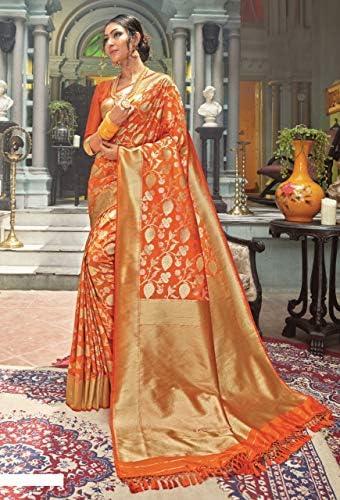 Pinkkart Designer Ultima Tradizionale Banarasi di Seta Saree Indiano Abbigliamento Festa Donne Festive Camicetta Sari 9994