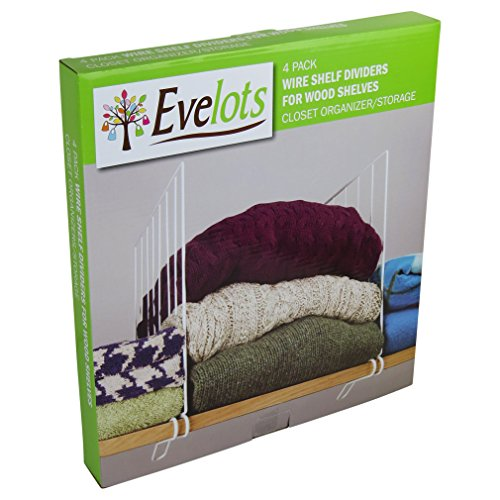 Evelots Set Of 4 Closet Shelf Dividers For Wooden Shelving