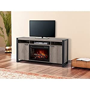 Dimplex Pierre Electric Fireplace TV Stand with Logset in Steeltown
