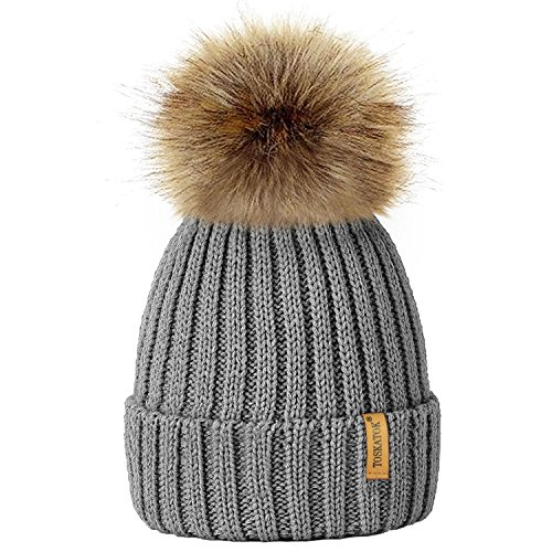 5fe14e24b08 TOSKATOKWomens Winter Rib Knitted Hat Beanie with Detachable Chunky Faux  Fur Bobble Pom Pom