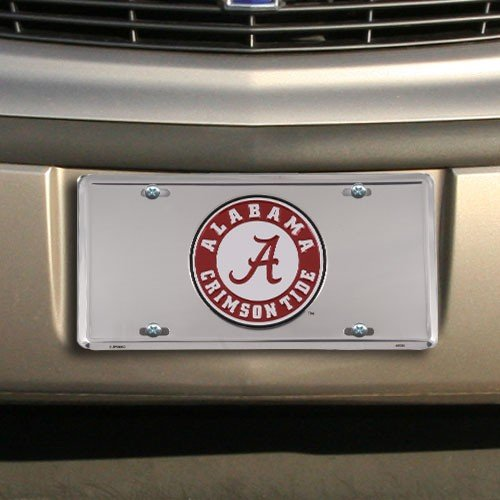 Alabama Crimson Tide Silver Super Stock Metal License Plate by Hangtime (Alabama Metal)