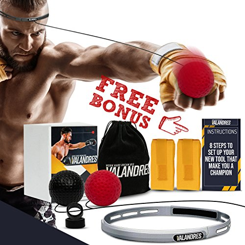 VALANDRES Fight Punching Boxing Reflex Ball – Premium Boxing Equipment Kit for Hand Eye Coordination Training for Kids and Adults - Get in Shape, Exercise &Have Fun Punch Speed Reaction Ball by VALANDRES