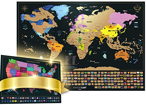 Framed Name Tag - Scratch Off Map of The World + Premium Scratch Off USA Map, Accessories and Gift Packaging | Personalized Travel Map Poster with Outlined States, Flags and Beautiful Colours | Manufactured in the EU