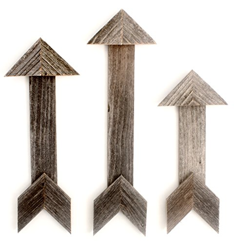 BarnwoodUSA Wood Arrow Wall Decor (Set of 3) | 100% Up-cycled Reclaimed Wood (Weathered Gray)