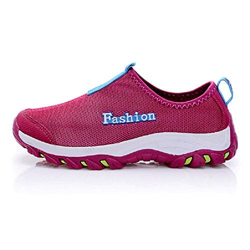 Fangsto Unisex-Adults' Athletic Breathable Mesh Running Shoes Slip-ONS Wine Red vZN4ECqvvG