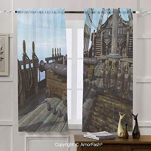 - AmorFash Military Window Curtains for Bedroom - Rod Pocket Sheer Curtain Drapes for Small Windows, 42x72 Inch Deck of Old Fashion Vintage Wooden Cannon Warship Naval State Force