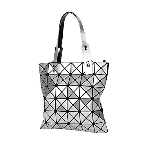 Top Handbags Geometric Tote Leather Shoulder Glossy niceEshop Lattice Women TM PU Silver Bag Silver handle nvWBf