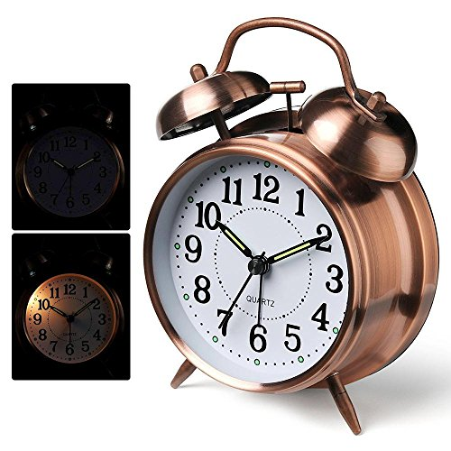 Teepao Old Fashioned Alarm Clock Super Loud Vintage Metal Brushed Textured Twins Bell Alarm Clock for Heavy Sleeper, Battery Powered, 3 Colors Available
