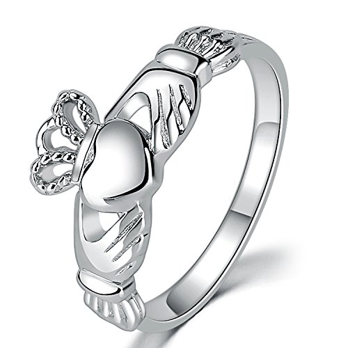 Sterling Silver Ladies Claddagh Ring - SOMEN TUNGSTEN 925 Sterling Silver Women's Claddagh Ring Love Heart Celtic Knot Crown Engagement Wedding Band 7