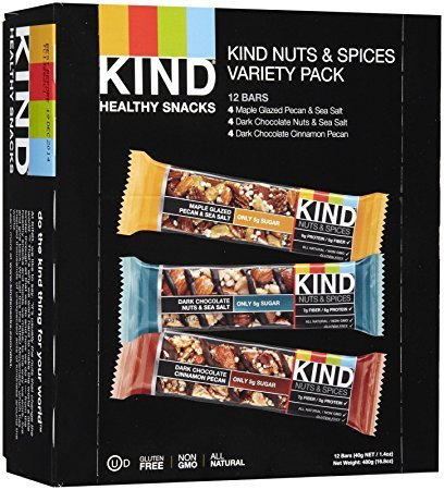 KIND Bars, Nuts and Spices Variety Pack, Gluten Free, 1.4 Ounce Bars, 12 Count - Pack of 2