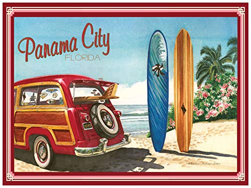 Panama City Florida Woodie Car & Surfboards Giclee Art Print Poster by Evelyn Jenkins Drew (18