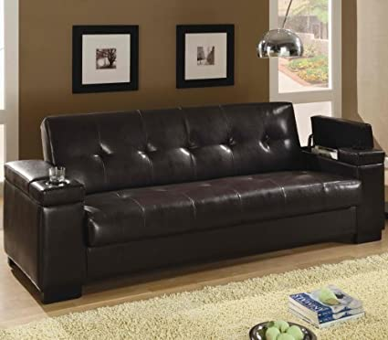 Furniture2go 3F7300143PG Faux Leather Convertible Sofa Sleep With Storage    Sofa Bed, Assembly Required