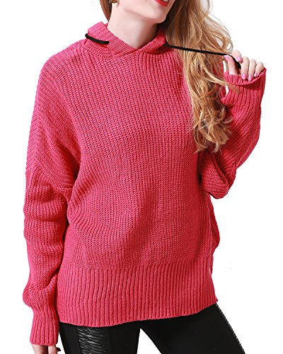 Knit Hooded Sweater (Sviuse Women's Casual Knit Long Sleeve Loose Fit Oversized Hooded Pullover Christmas Sweater(M, Rose))