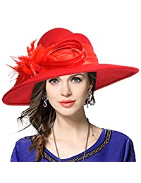 JESSE · RENA Womens 100% Wool Felt Feather Cocktail British Formal Tea Party Hat
