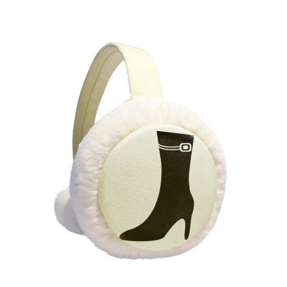 Simple Graphics Black High Heels Silhouette Winter Earmuffs Ear Warmers Faux Fur Foldable Plush Outdoor Gift