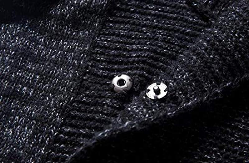 GRMO Men's Classic Knit Long Sleeve Pockets Hooded Slim Sweater Cardigan: Odzież