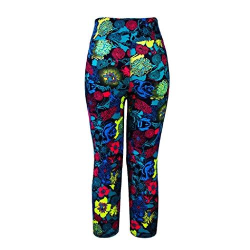 Ularma Pantalones para mujer alta cintura Fitness Yoga, colorido impreso, estiramiento y recortada Multicolor 4
