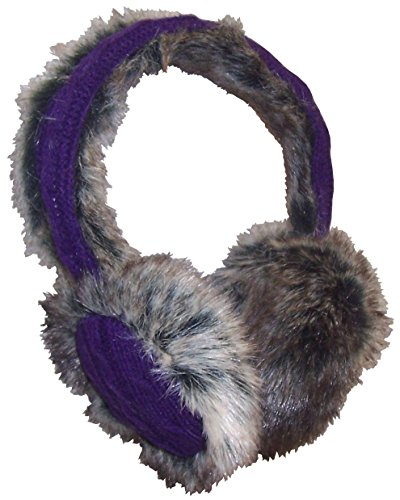 N'Ice Caps Girls and Adults Faux Mink Trimmed Adjustable Ear Muffs (One size fits all, purple/black-brown)
