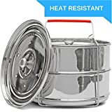 Stackable Steamer Insert Pans with Heat Resistant Silicon Handle | Instant Pot Electric Pressure Cooker accessories | 2 Tier Basket Ideal for Vegetable, Meat and Rice | Fits 5 / 6 / 8 Quart IP