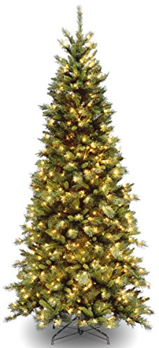 National Tree 7.5 Foot Tiffany Fir Slim Tree with 550 Clear Lights, Hinged ()