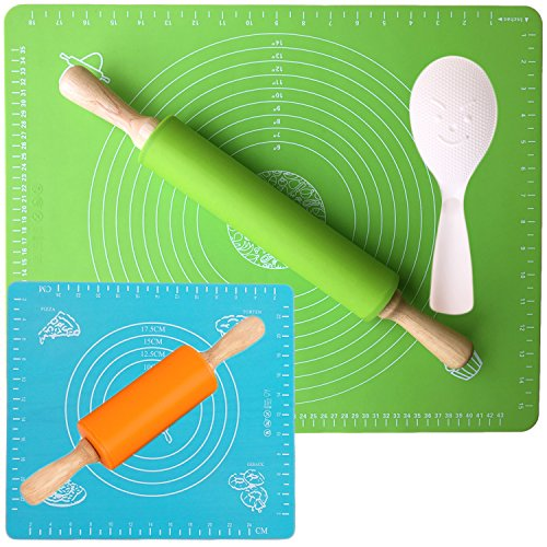 Rolling Pin - Usparkle Nonstick Silicone Rolling Pin 16.9'' - Thick Large Silicone Pastry Mat 15.7'' X 19.7'' with Kids Size Rolling Pin and Blue Mat for Baking and Rolling Dough- Gift a Rice Spoon