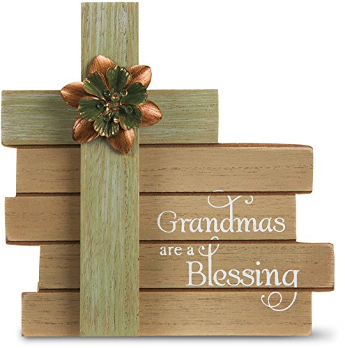 Pavilion Gift Company Simple Spirits - Grandmas are A Blessing Cross Plaque 6 Inch, Solid, Green