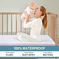 COHOME Crib 100% Waterproof Bambo Mattress Protector, Hypoallergenic Breathable Mattress Pad Cover Fitted 6 inch Deep Pocket for Baby Infant Toddle