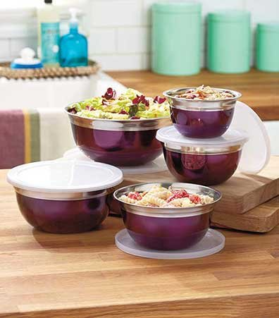 10-Pc. Stainless Steel Bowl Sets Purple 5 Bowls X-Small, 16 oz. Small, 26 oz. Medium, 33 oz. Large, 43 oz. X-Large, 62 oz. 5 Lids, Stainless steel and plastic Dishwasher and freezer safe (Dishwasher 26)