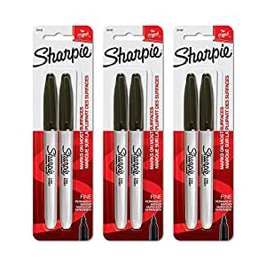 Sharpie 30162PP Fine Point Permanent Markers, Black, Permanent Ink, Ink Dries Quickly and Resists Both Fading and Water, Blister of 2 Markers, Pack of 3 Blisters, 6 Markers Total