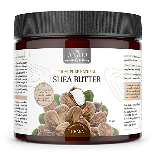 Anjou Shea Butter, African, Refined, Pure, Natural Moisturizer for Dry Skin, DIY for Soap, Hair Cream, Body Lotion & Butter, Shampoo, Eczema & Stretch Marks Products - 14 oz