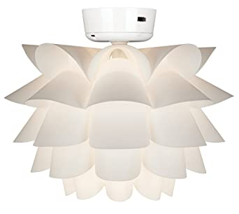 White flower ceiling fan light kit flower light fixture amazon aloadofball Choice Image
