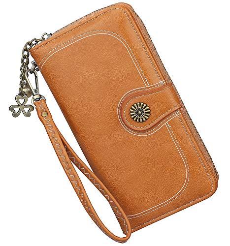 (Women's Long Leather Wallet Bifold Wristlet Clutch Ladies Purse Card Holder Organizer (Brown-))
