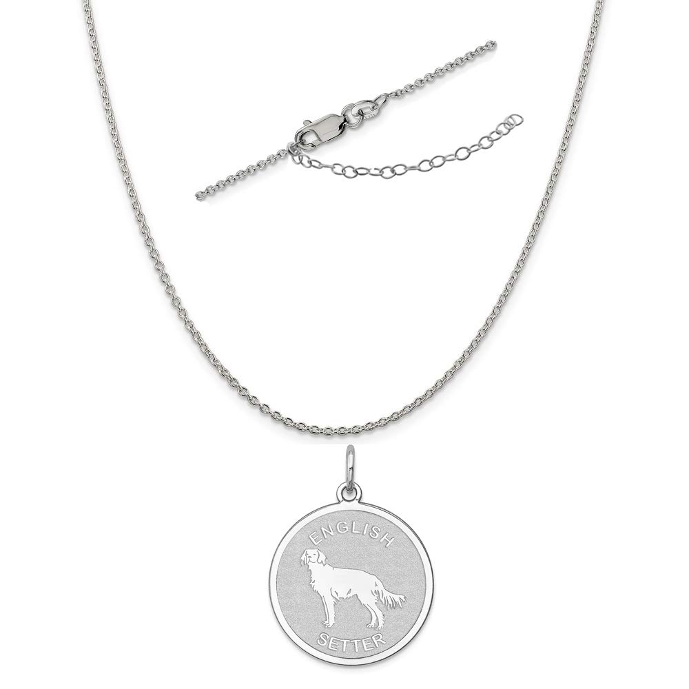 Sterling Silver Anti-Tarnish Treated English Setter Disc Charm on an Adjustable Chain Necklace
