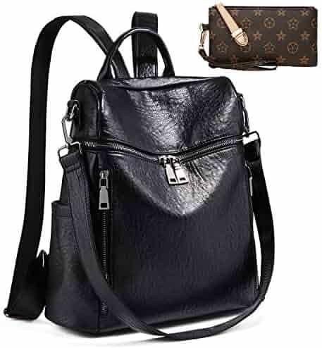 86caec306bd33 Backpack for women Fashion Leather Ladies Rucksack Crossbody Shoulder Bag  2pcs Purses Backpack Set