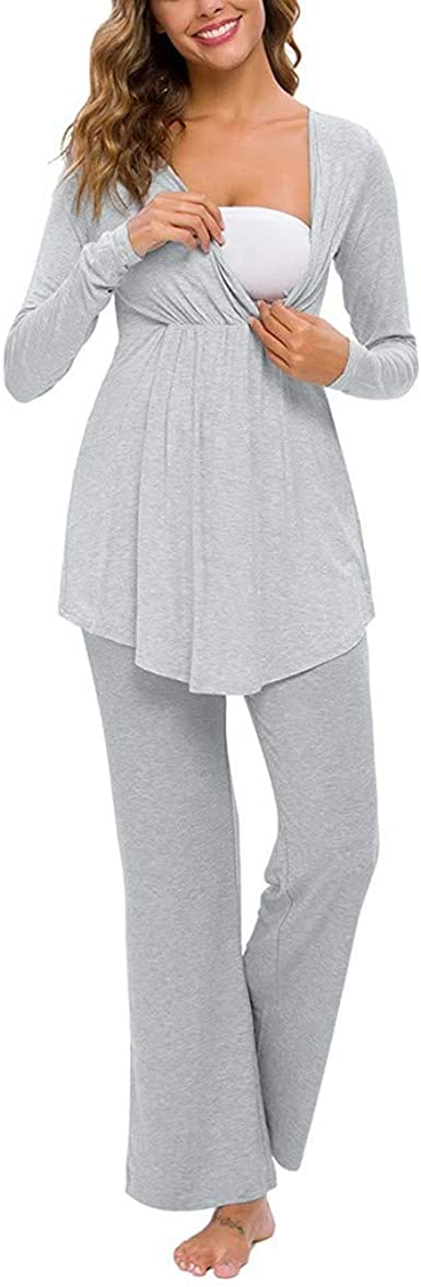 STRIR 2 Piezas Pijama de Lactancia Invierno Ropa Premamá Lactancia Otoño Invierno Ropa Maternidad Hospital Pijama Embarazada Manga Larga Algodon Top y ...