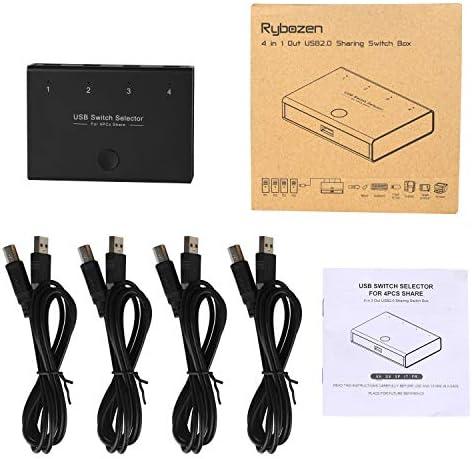 DIGITNOW Selector de conmutadores USB, 4 puertos USB periféricos para 4 ordenadores, compartiendo 3 dispositivos USB, teclado, ratón, escáner, impresora, con 4 cables USB 9