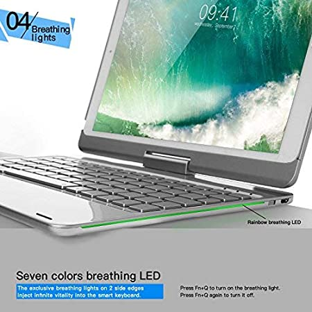 Amazon.com: iPad Pro 10.5 Keyboard Case, iEGrow F360 7 Color Backlit and Dream Lighting Bluetooth Keyboard with 360 Degree Rotatable Case Cover for 2017 ...
