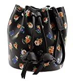 COACH Floral Print Coated Canvas Petal Wristlet (Black Multi)