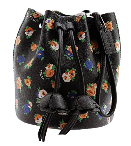 COACH Floral Print Coated Canvas Petal Wristlet (Black Multi) by Coach