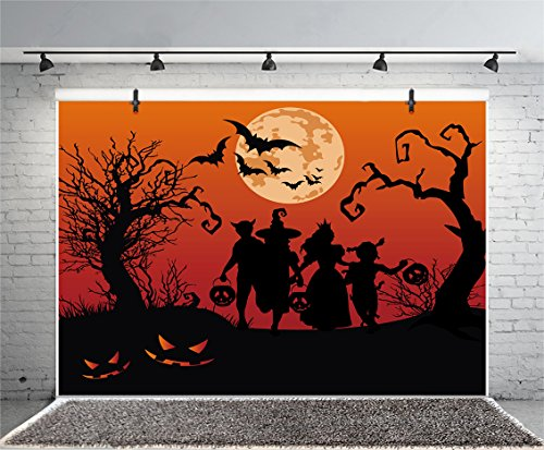 (Leyiyi 8x6ft Photography Background Happy Halloween Party Backdrop Children Silhouette Terror Costume Carnival Flying Bats Tombs Pumpkin Lamps Full Moon Magic Trees Photo Portrait Vinyl Studio)