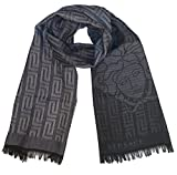 Versace Collection Gray Black Medusa Geometric Scarf