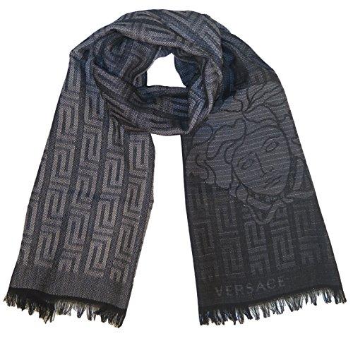 Versace Collection Gray Black Medusa Geometric Scarf