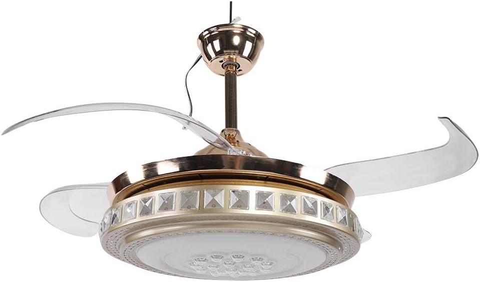 Ventilador de techo/lámpara, lámpara de LED con aspas retráctiles con ventilado LED de tres intensidades de intensidad, mando a distancia, 65 W, 42 pulgadas, dorado