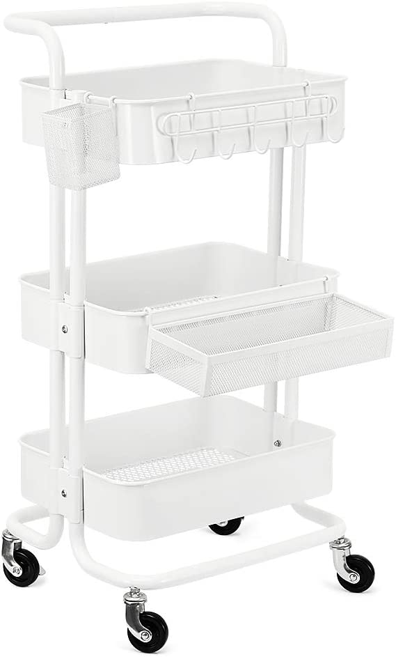 KEDSUM 3-Tier Metal Rolling Utility Cart with 3-Piece Accessory Pack – Hooks, Shelf Extension, Pens Holder, Heavy Duty Mobile Storage Organizer with Utility Handle – White
