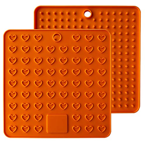 Heart-Shaped Silicone Trivet Mats Pot Holders Spoon Rest Coasters Heat Resistant Insulation Pad Kitchen Tool-Orange (Spoon Rest Casserole)