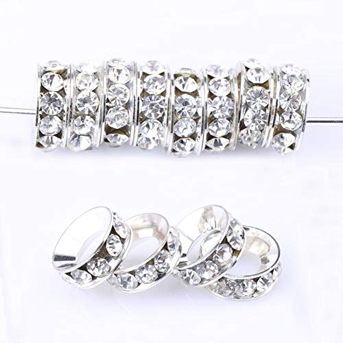 200pcs Top Quality 13mm Rhinestone Rondelle Spacer Beads (Large Hole ~ 10mm) Sterling Silver Plated Brass Round Metal Beads CF5 ()